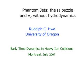 Phantom Jets: the   puzzle 	and  v 2 without hydrodynamics