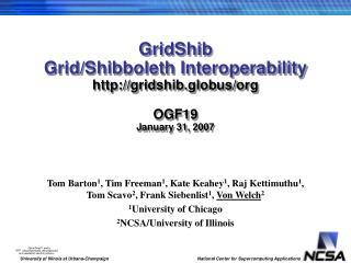 GridShib Grid/Shibboleth Interoperability gridshib.globus/org OGF19 January 31, 2007