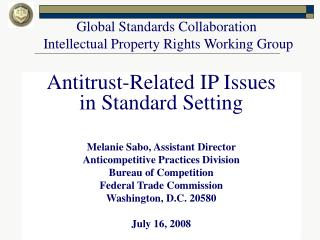 Global Standards Collaboration  Intellectual Property Rights Working Group