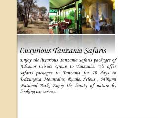 Luxurious Tanzania Safaris
