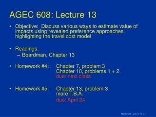 AGEC 608: Lecture 13