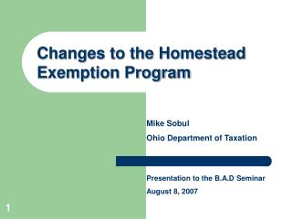 Changes to the Homestead Exemption Program