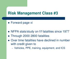 Risk Management Class #3