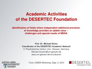 Academic Activities  of the DESERTEC Foundation