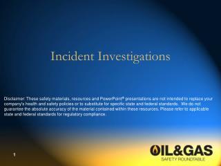 Incident Investigations