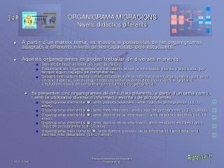 ORGANIGRAMA MIGRACIONS Nivells didàctics diferents