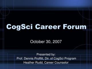CogSci Career Forum