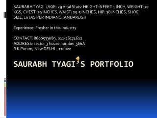SAURABH TYAGI'S PORTFOLIO