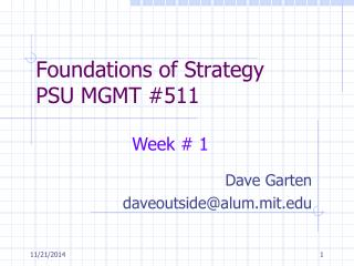 Foundations of Strategy  PSU MGMT #511