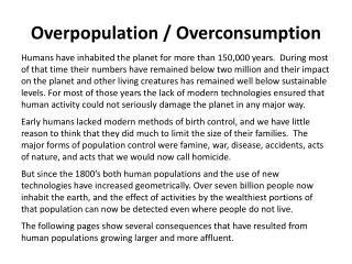 Overpopulation / Overconsumption