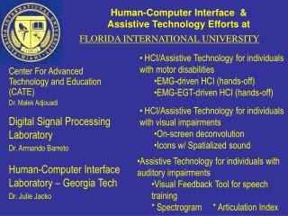 Human-Computer Interface  & Assistive Technology Efforts at