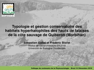 Colloque du centenaire de la Phytosociologie – Brest 3-5 Novembre 2010