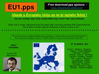 Ulazak u Evropsku Uniju se ne bi isplatio Srbiji  !