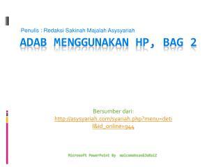 Adab Menggunakan  HP, bag 2