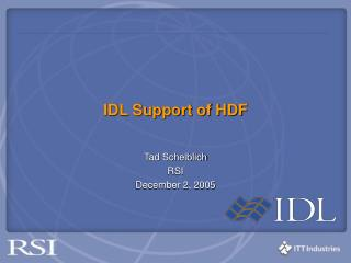 IDL Support of HDF