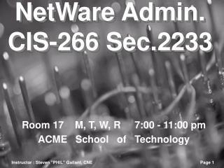 NetWare Admin. CIS-266 Sec.2233