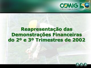 Reapresentação das Demonstrações Financeiras do 2º e 3º Trimestres de 2002