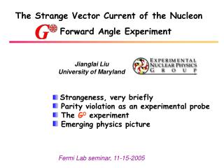 The Strange Vector Current of the Nucleon 	 	Forward Angle Experiment