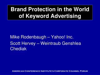 Brand Protection in the World of Keyword Advertising
