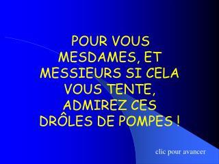 POUR VOUS MESDAMES, ET MESSIEURS SI CELA VOUS TENTE, ADMIREZ CES DRÔLES DE POMPES !