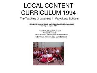 LOCAL CONTENT CURRICULUM 1994