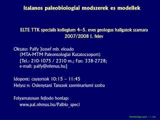 Általános paleobiológiai módszerek és modellek