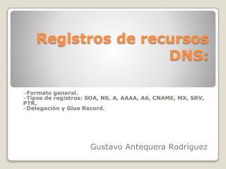 Registros de recursos DNS: