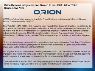 Orion Systems Integrators, Inc. Named to Inc. 5000 List for
