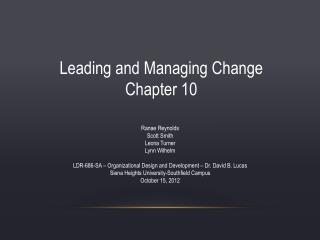 Leading and Managing Change Chapter 10