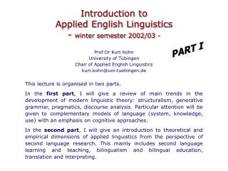 Introduction to  Applied English Linguistics -  winter semester 2002/03 -