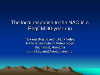 The local response to the NAO in a RegCM 30-year run