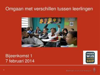 Omgaan met verschillen tussen leerlingen Bijeenkomst 1 7 februari 2014