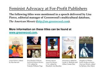 Feminist Advocacy at For-Profit Publishers