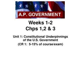 Weeks 1-2 Chps 1,2  3