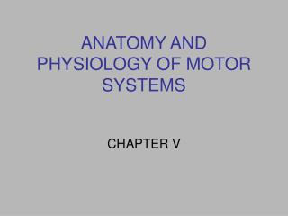 ANATOMY AND PHYSIOLOGY OF MOTOR SYSTEMS