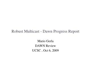 Robust Multicast - Dawn Progress Report