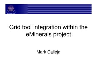 Grid tool integration within the eMinerals project