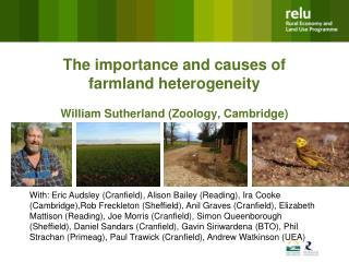 The importance and causes of farmland heterogeneity  William Sutherland (Zoology, Cambridge)