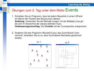 Übungen zum 2. Tag unter dem Motto  Events