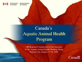 Canada s  Aquatic Animal Health Program