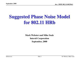 Suggested Phase Noise Model for 802.11 HRb