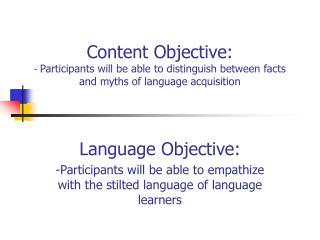 Language Objective: