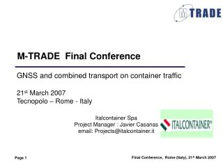 M-TRADE  Final Conference