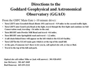 Directions to the Goddard Geophysical and Astronomical Observatory GGAO