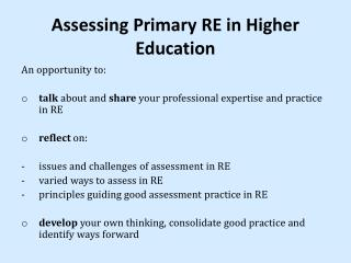 Assessing Primary RE in Higher Education