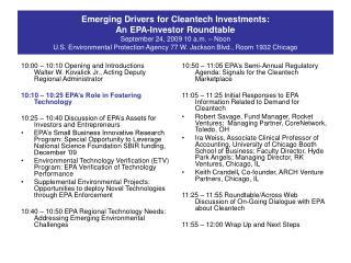 10:50 – 11:05 EPA's Semi-Annual Regulatory Agenda: Signals for the Cleantech Marketplace