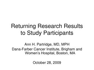 Returning Research Results to Study Participants