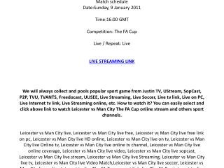 Leicester vs Man City live streaming online on your PC / Sun