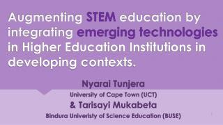 Nyarai  Tunjera University  of Cape  Town (UCT) &  Tarisayi  Mukabeta
