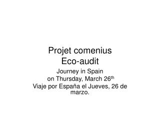 Projet comenius Eco-audit